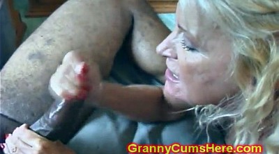 Big cumshot, Granny interracial
