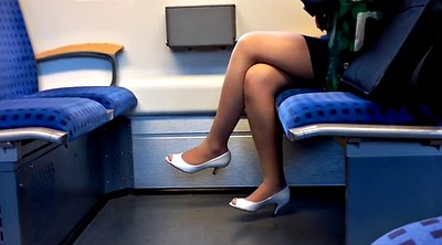Foot, Train, Peep, Peeping, Nylon foot, Toes