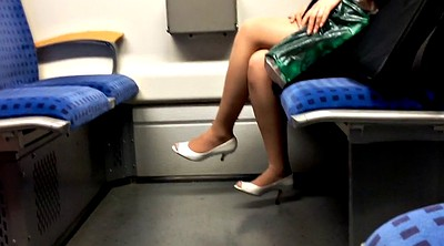 Milf, Peep, Nylons, Nylon foot, Peeping, Train