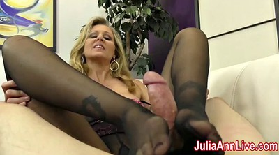 Julia ann, Julia, Stocking footjob, Anne, Cum on foot
