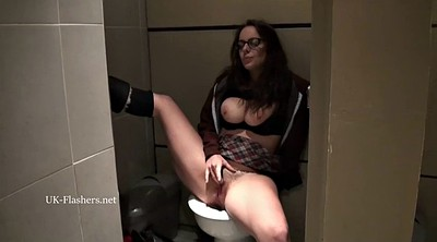 Toilet, Toilet masturbation, Big tits masturbation