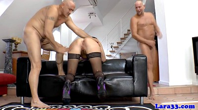 Stockings anal, Two dick