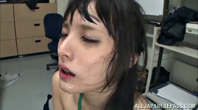 Cum swallow, Cum in throat, Office asian