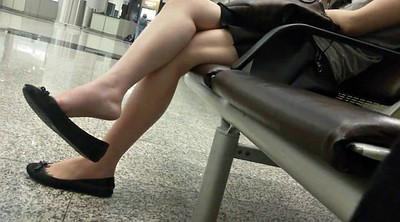 Asian foot, Shoeplay, Leggings, Dangling, Candid, Asian sexy