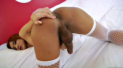 Shemale handjob, White stocking, White big ass