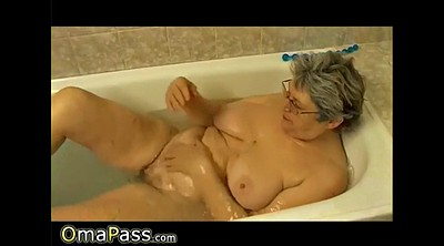 Bathroom, Hairy solo, Hairy granny, Granny shower