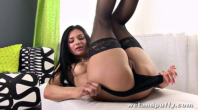 Sexy stockings, Fingering solo