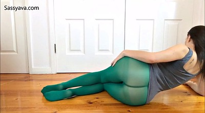 Nylon foot, Pantyhose tease, Foot pov, Pantyhose pov, Green