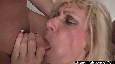 Blonde, Double penetration, Old granny