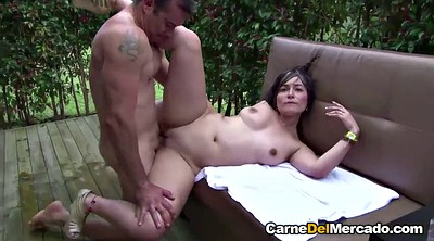 Spanish, Round, Public orgasm, Oiled ass cumshots, Oil ass