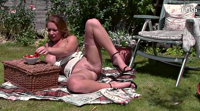 English, British milf, Milf nylon, Lingerie tease, Garden, English milf