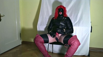 Crossdresser, Leather, Gloves, Crossdress, Glove handjob, Gay handjob