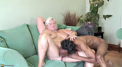 Interracial granny, Old lady, Old blonde