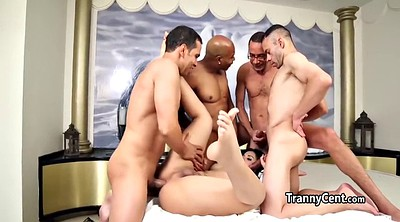Shemales, Interracial gangbang, Shemale gangbang, Four