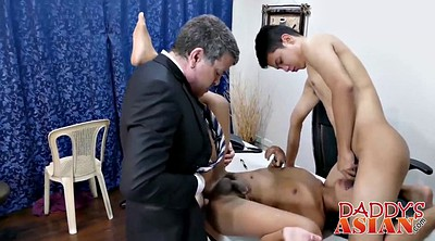 Office threesome, Asian daddy, Three gay, Three office, Asian office