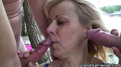 Stuffing, Outdoor blowjob, Granny double