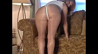 Shiny pantyhose, British mature