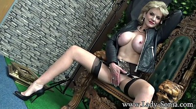 Leather, Milf leather, Black stocking, Hot ebony, Black solo