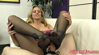 Julia ann, Julia, Stockings foot, Stocking foot, Stockings footjob, Foot slave