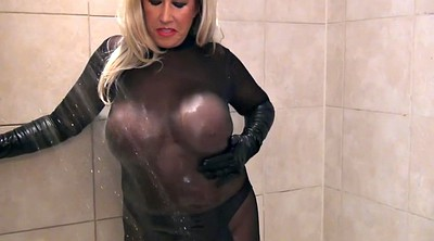 Latex, Gloves, Milf shower, Big wet tits