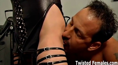 Leather, Ball squeeze, Ball kicking, Kick, Femdom spanking, Kicking