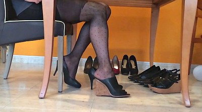 Nylon, Heels, Foot fetish, Nylon foot, Nylon fetish, Pantyhose foot