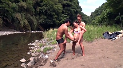 Threesome, Japanese threesome, Japanese creampie, Hairy creampie