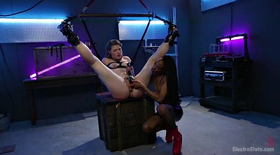 Electric, Lesbian strapon, Electricity, Brutal anal