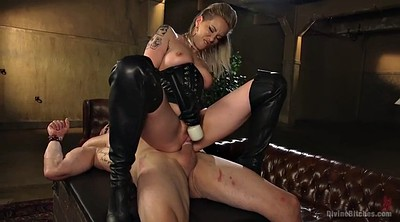 Leather, Slave, Mature handjob, Mature blowjob