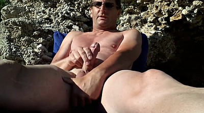 Masturbation public, Naked, Public beach