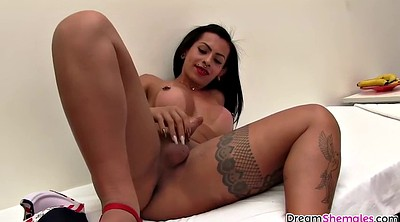 Big boobs masturbation, Shemale solo, Alone, Latina shemale