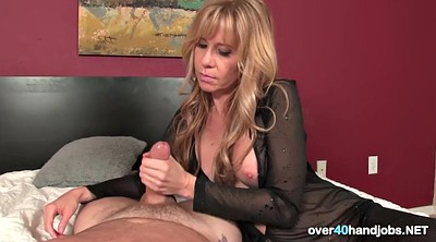 Mature blonde, Mature handjob, Lesson