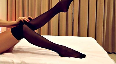 Pantyhose, Bed, Black pantyhose