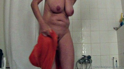 German, Saggy tits, Hidden cam shower, Granny shower