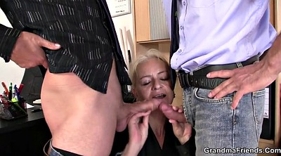 Granny threesome, Very young, Riding mature, Old and young threesome