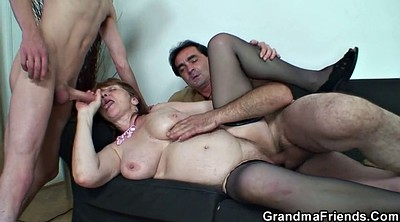 Office threesome, Granny stocking