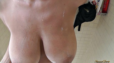 Huge cumshot, Huge natural tits