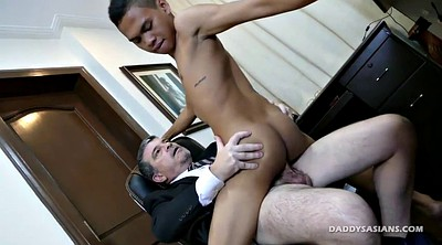 Secretary office, Dad gay, Asian interracial