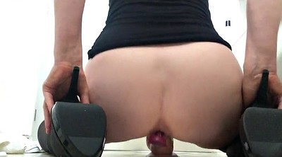 Squirting, Squirting milf, Rides dildo, From behind, Dildo ride
