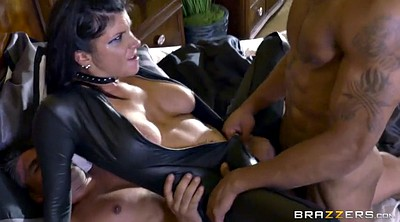 Romi rain, Leather, Gloves, Triple, Triple penetration, Big boots