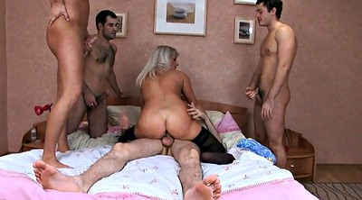 Gangbang, Mature group, Very big, Double pussy
