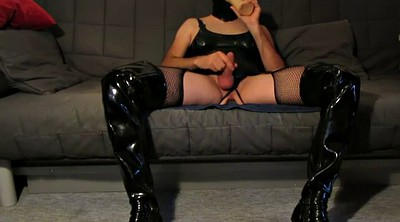 Boots, Huge dildo, Stroking