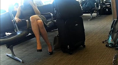 Crossed legs, Candid feet, Airport