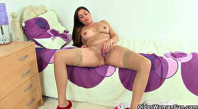 Creamy, Lingerie striptease, Granny pussy, Clothed sex