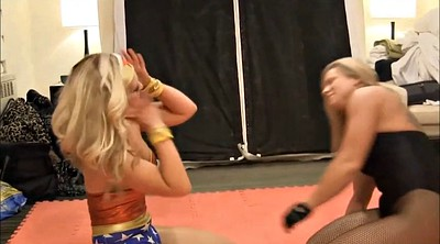 Cat, Heroine, Wrestling, Fight, Pantyhose lesbian, Cosplay lesbians