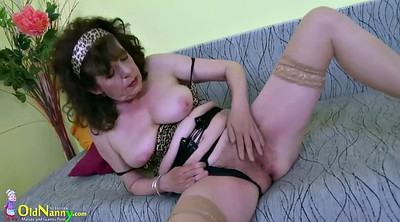 Hairy solo, Granny masturbation