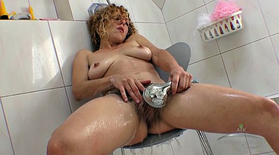 Mature hairy, Hairy shower