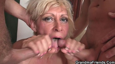Young blonde, Granny double penetration