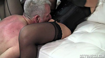 Stocking, Mature stockings, Man, Cock to cock