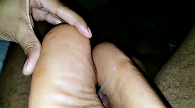 Close-up, Ebony feet, Bbw footjob